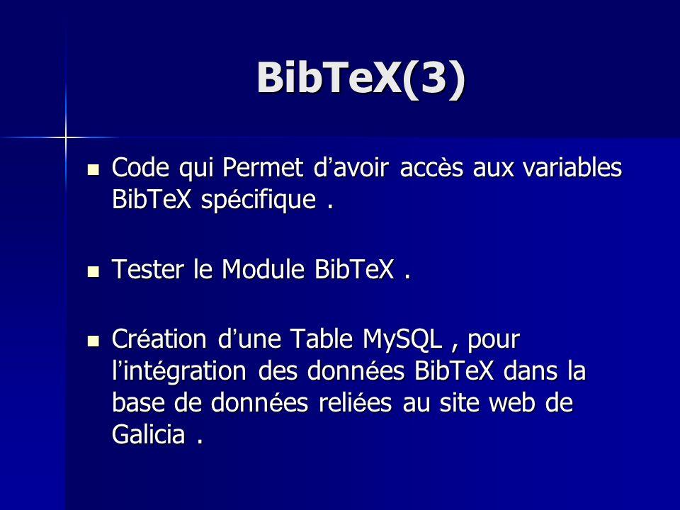 BibTeX(3) Code qui Permet d'avoir accès aux variables BibTeX spécifique . Tester le Module BibTeX .