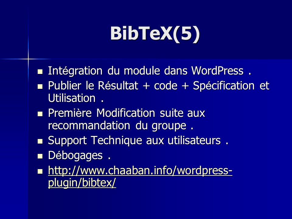 BibTeX(5) Intégration du module dans WordPress .