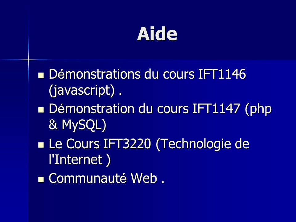 Aide Démonstrations du cours IFT1146 (javascript) .