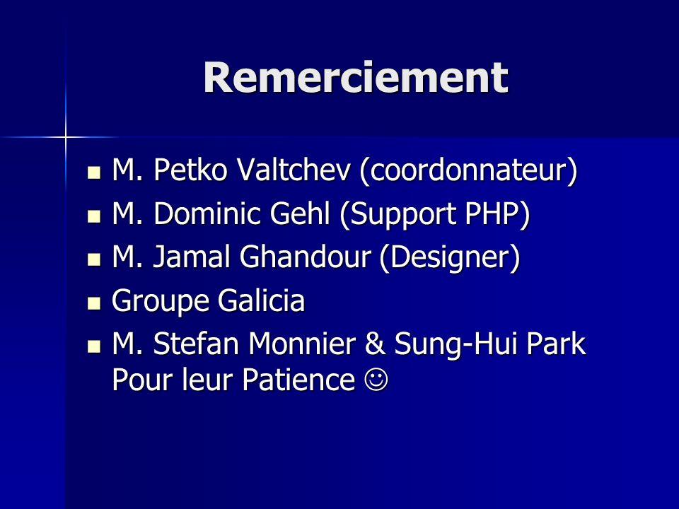 Remerciement M. Petko Valtchev (coordonnateur)