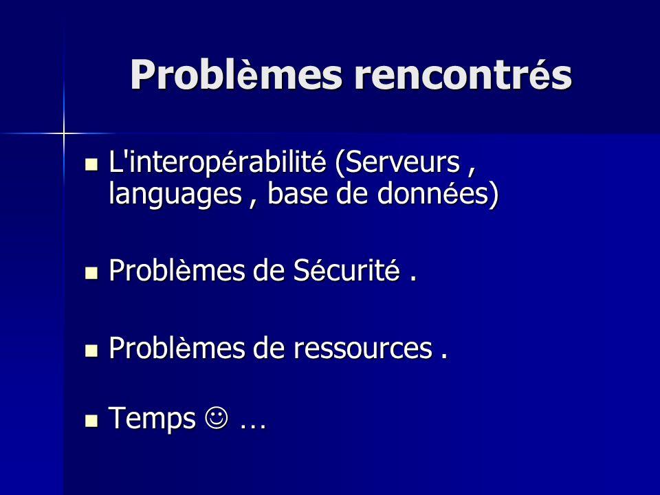 Problèmes rencontrés L interopérabilité (Serveurs , languages , base de données) Problèmes de Sécurité .