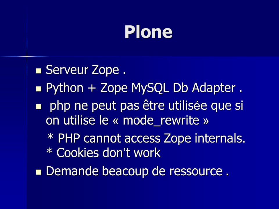 Plone Serveur Zope . Python + Zope MySQL Db Adapter .