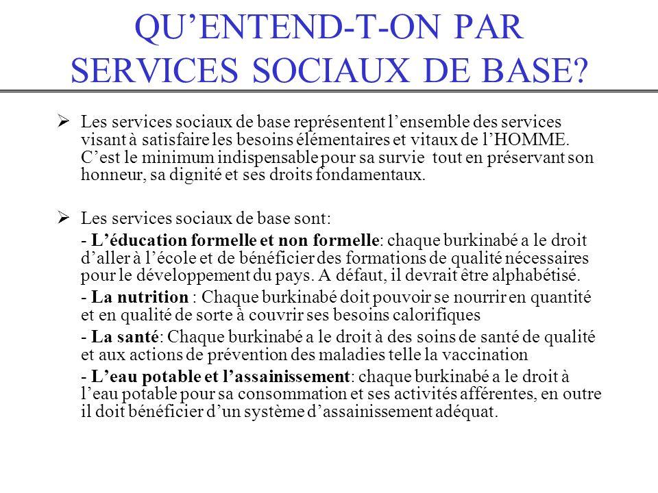 QU'ENTEND-T-ON PAR SERVICES SOCIAUX DE BASE