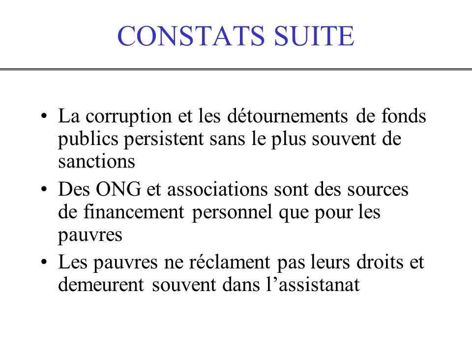 CONSTATS SUITE La corruption et les détournements de fonds publics persistent sans le plus souvent de sanctions.