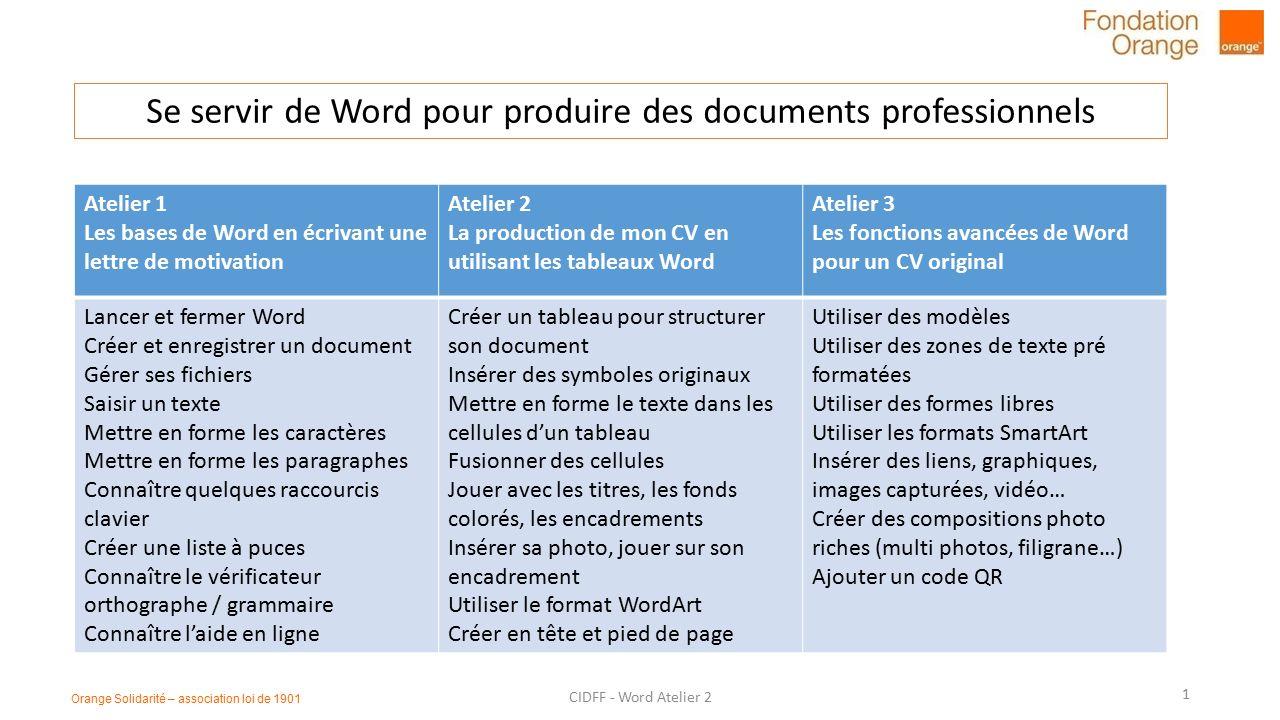 se servir de word pour produire des documents