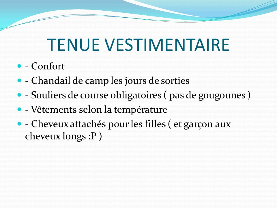 Ordre du jour pr sentation de l quipe d animation ppt for Academie de cuisine summer camp
