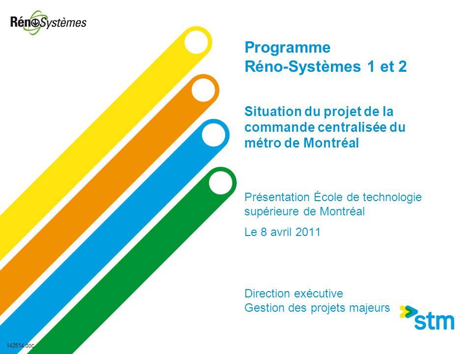 Programme Réno-Systèmes 1 et 2 Situation du projet de la commande centralisée du métro de Montréal