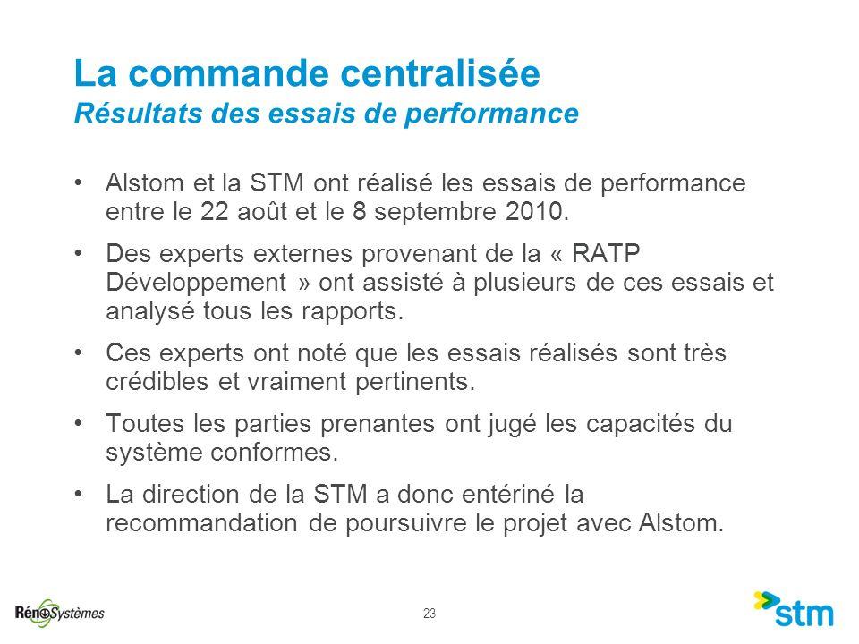 La commande centralisée Résultats des essais de performance