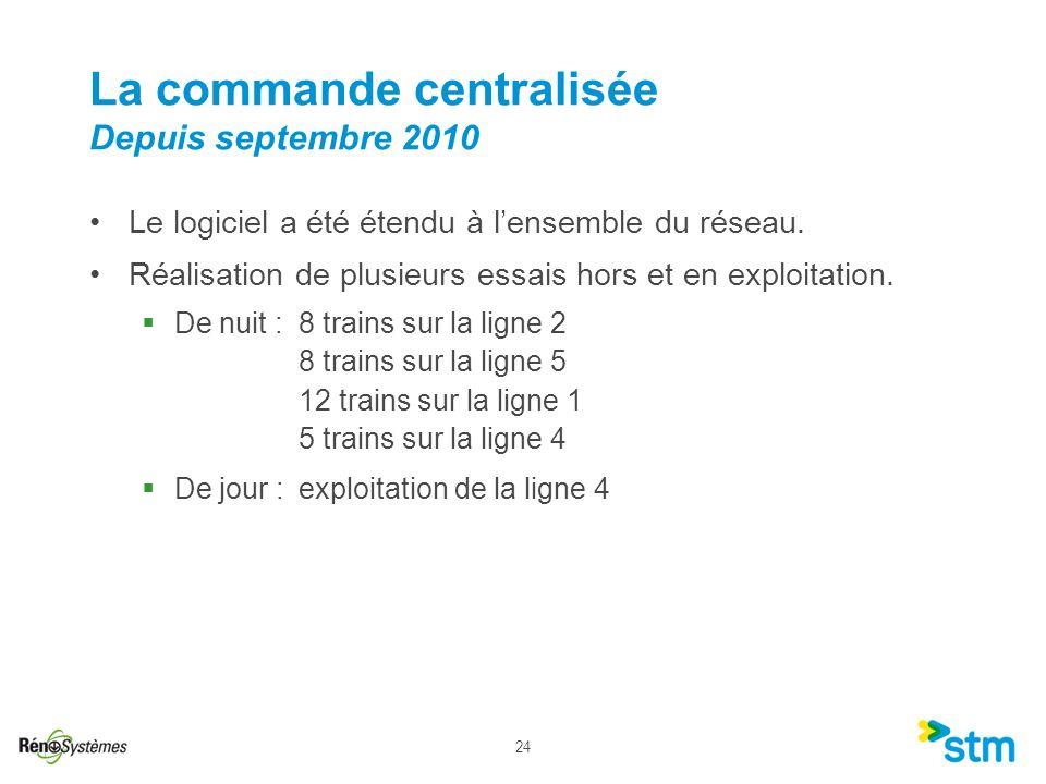 La commande centralisée Depuis septembre 2010