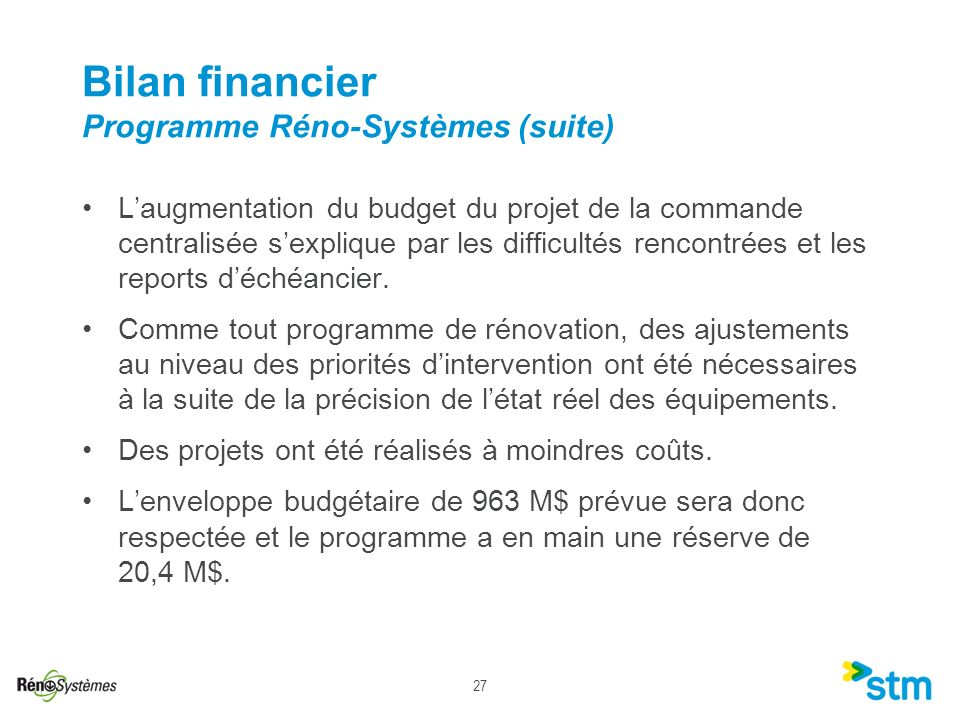Bilan financier Programme Réno-Systèmes (suite)