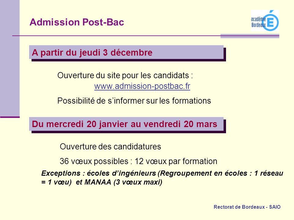 Admission Post-Bac A partir du jeudi 3 décembre
