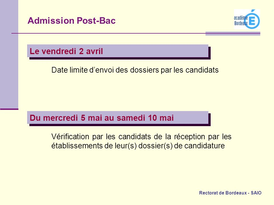 Admission Post-Bac Le vendredi 2 avril