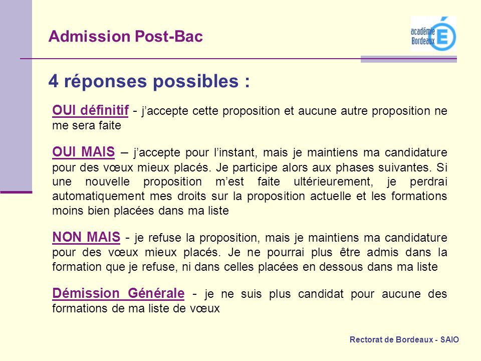 4 réponses possibles : Admission Post-Bac
