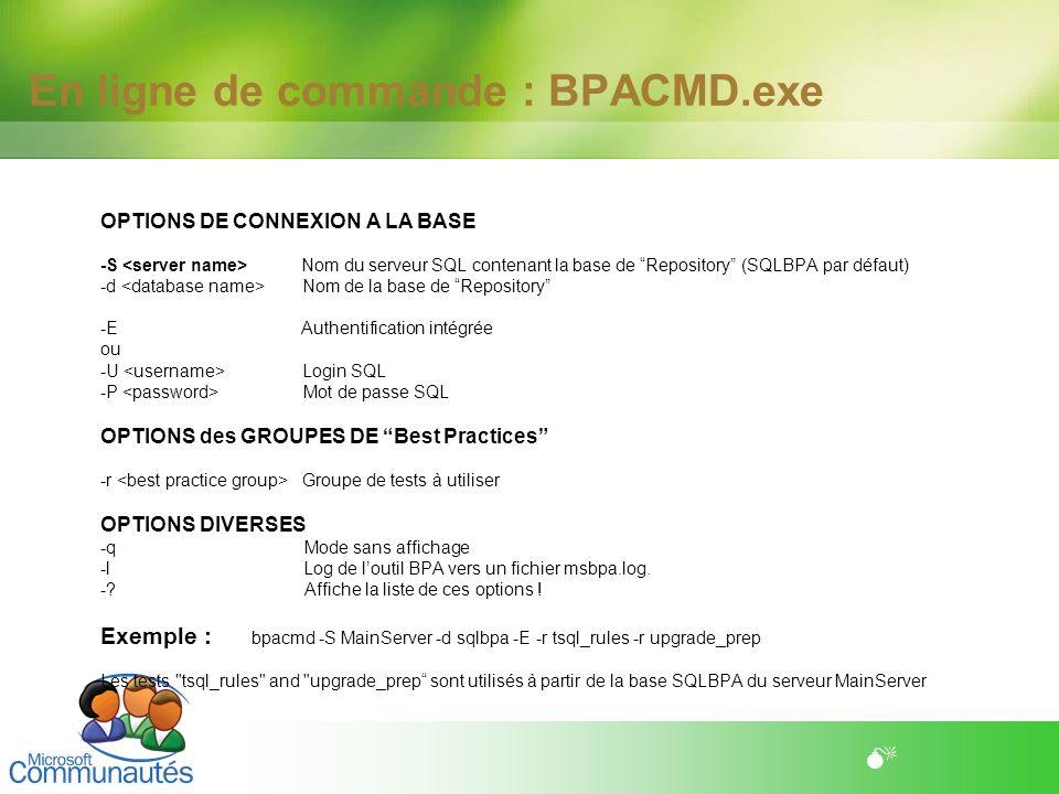 En ligne de commande : BPACMD.exe