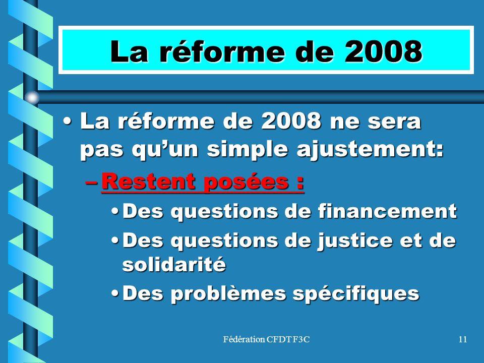 La réforme de 2008 La réforme de 2008 ne sera pas qu'un simple ajustement: Restent posées : Des questions de financement.