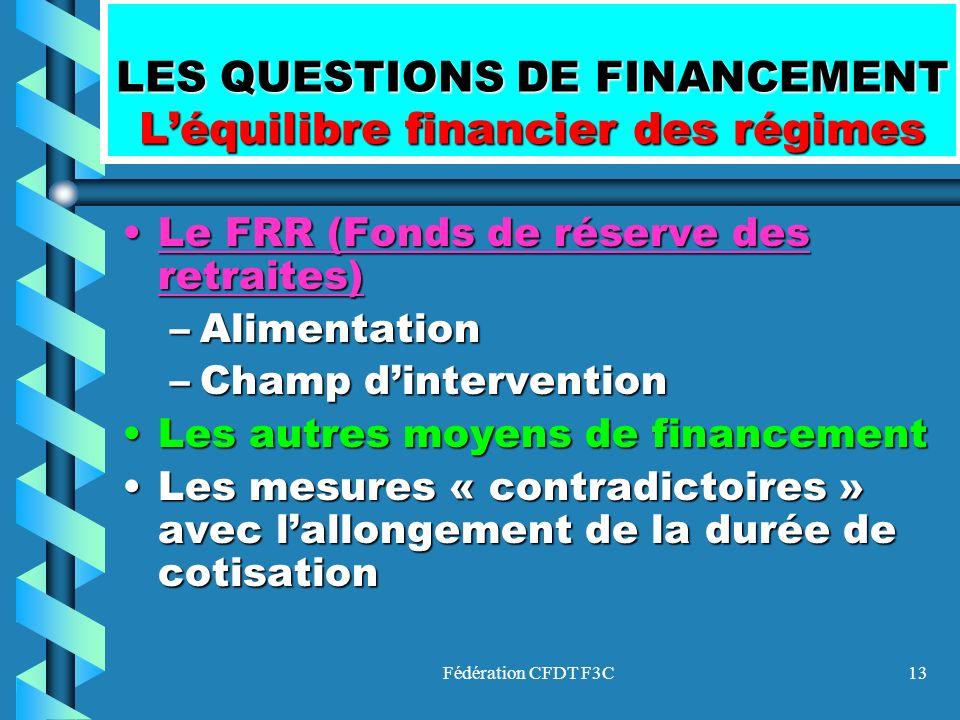 LES QUESTIONS DE FINANCEMENT L'équilibre financier des régimes