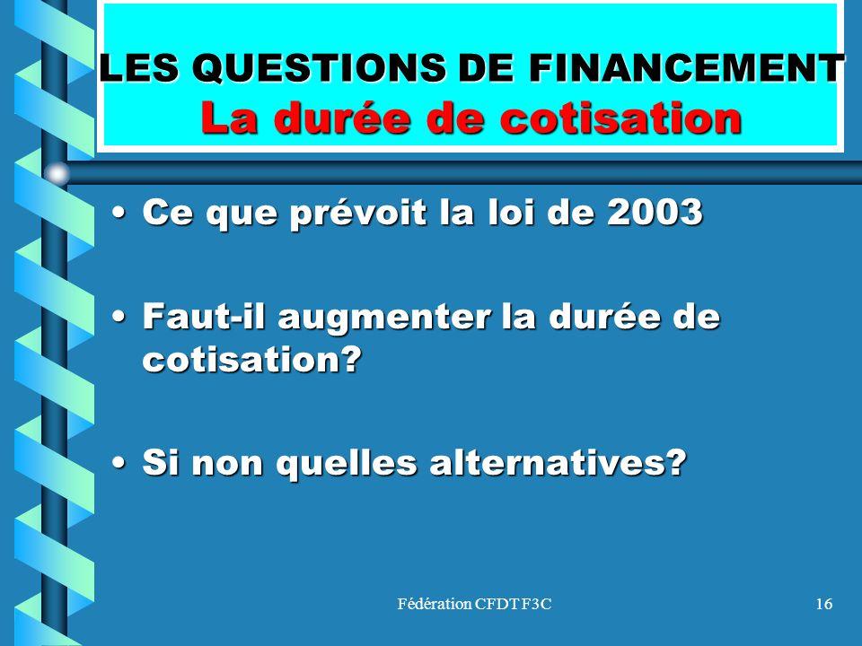 LES QUESTIONS DE FINANCEMENT La durée de cotisation