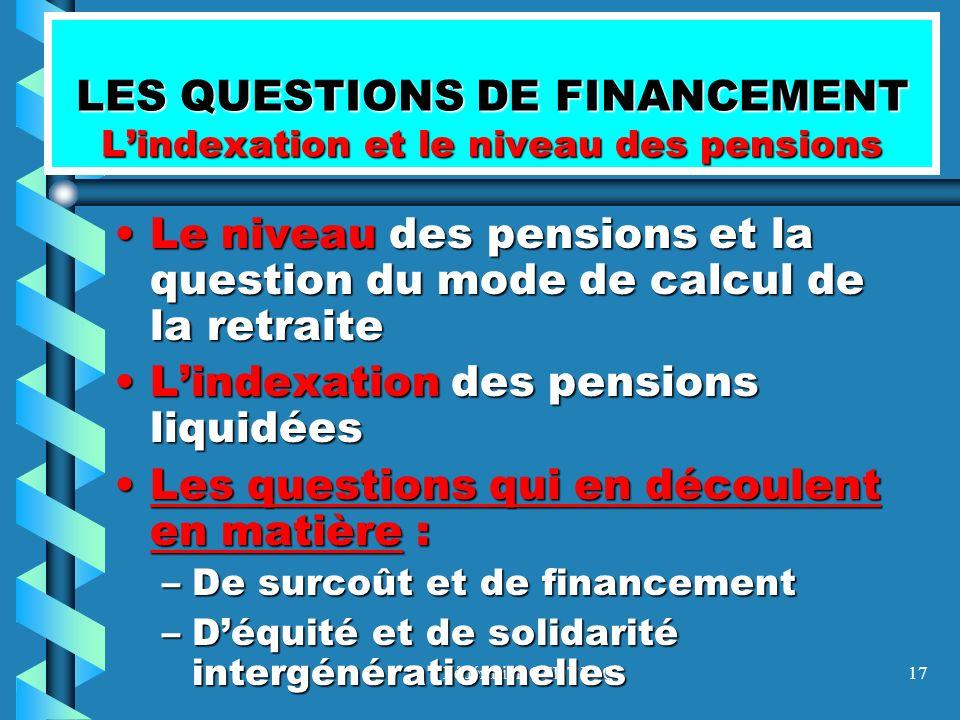 LES QUESTIONS DE FINANCEMENT L'indexation et le niveau des pensions