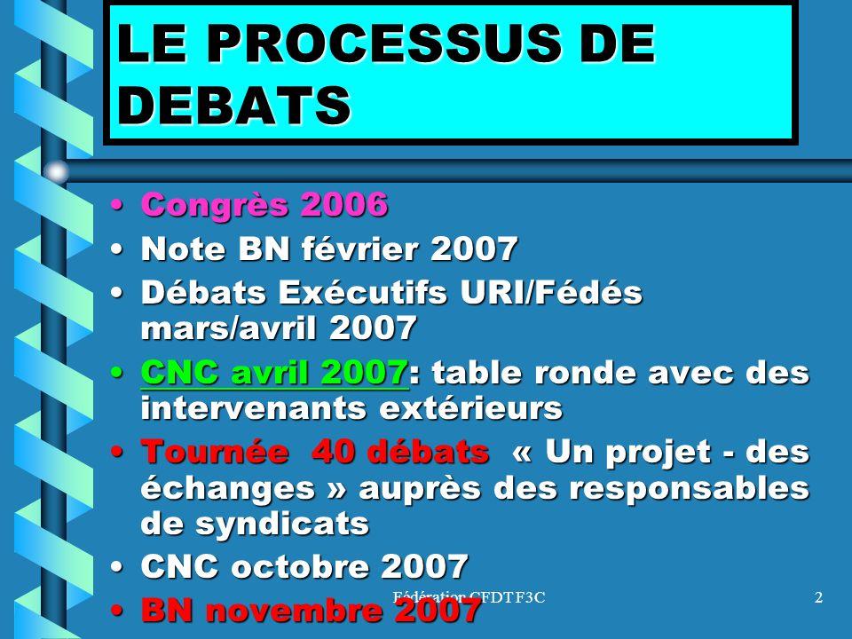 LE PROCESSUS DE DEBATS Congrès 2006 Note BN février 2007