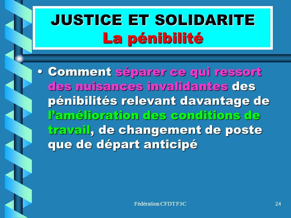 JUSTICE ET SOLIDARITE La pénibilité