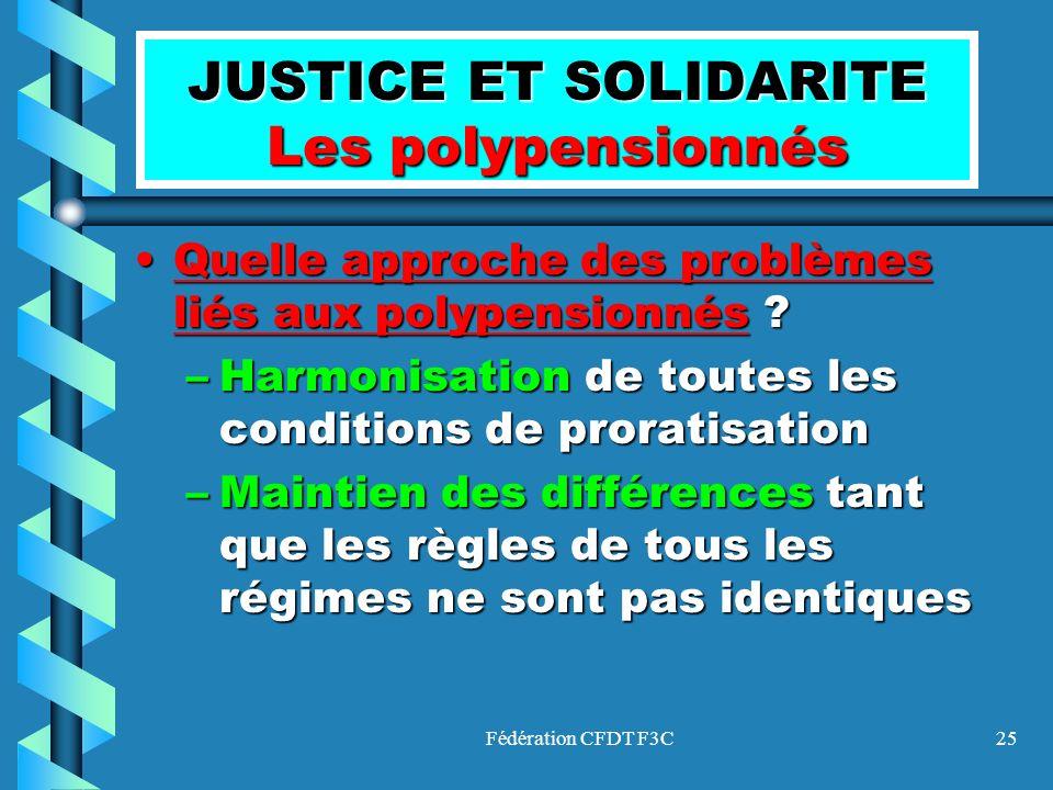 JUSTICE ET SOLIDARITE Les polypensionnés