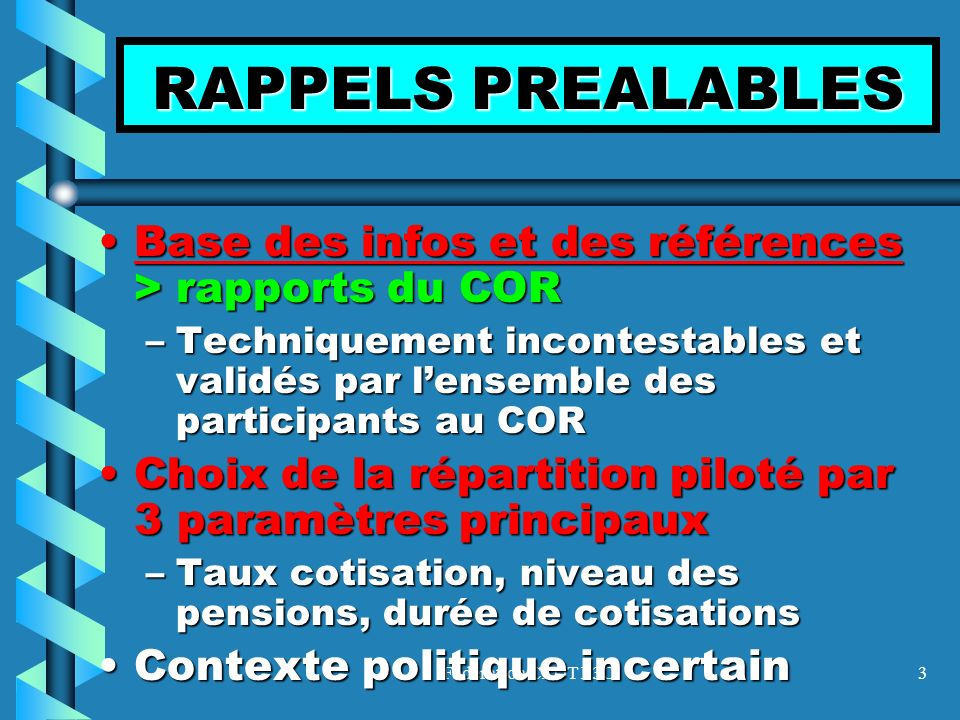 RAPPELS PREALABLES Base des infos et des références > rapports du COR.