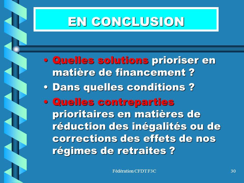 EN CONCLUSION Quelles solutions prioriser en matière de financement
