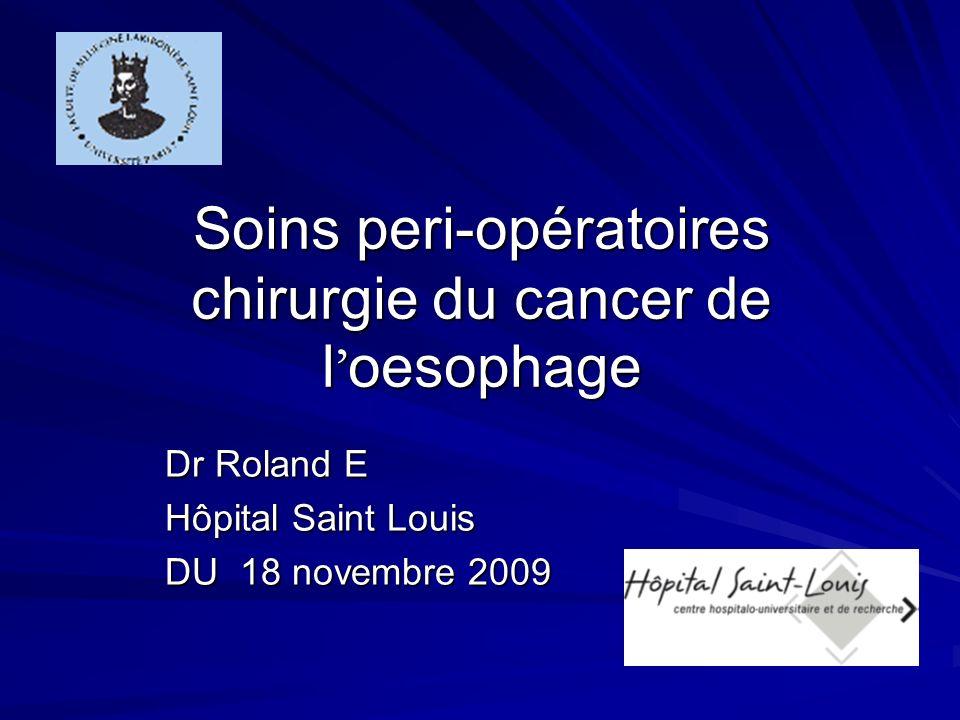 Soins peri-opératoires chirurgie du cancer de l'oesophage