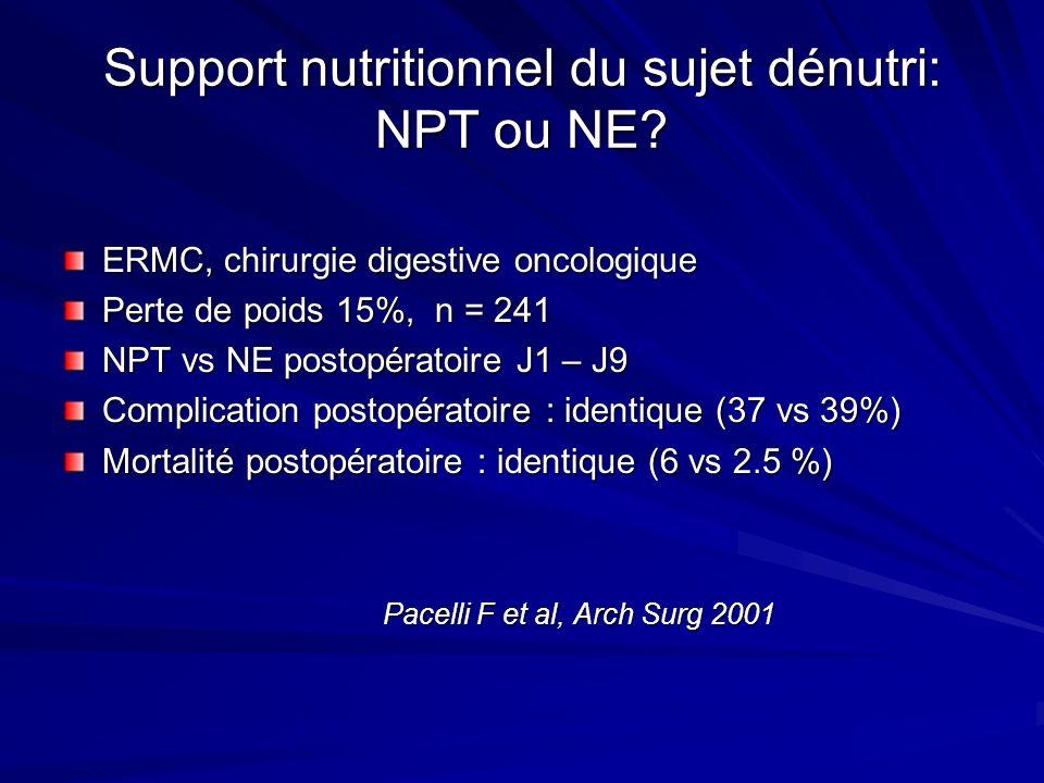 Support nutritionnel du sujet dénutri: NPT ou NE