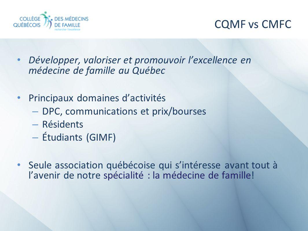 CQMF vs CMFCDévelopper, valoriser et promouvoir l'excellence en médecine de famille au Québec. Principaux domaines d'activités.