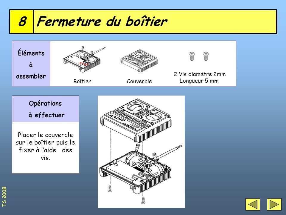 8 Fermeture du boîtier Éléments à assembler Opérations à effectuer