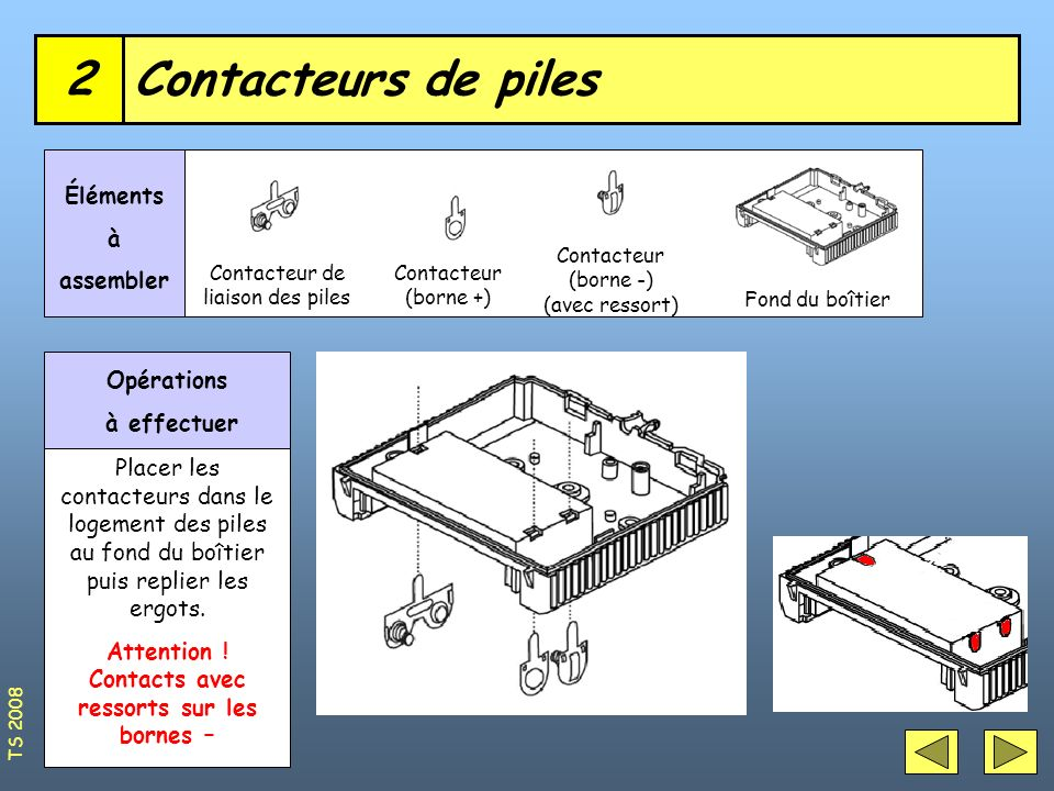 Attention ! Contacts avec ressorts sur les bornes –