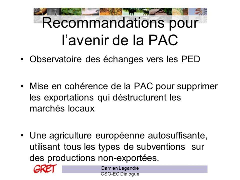 Recommandations pour l'avenir de la PAC
