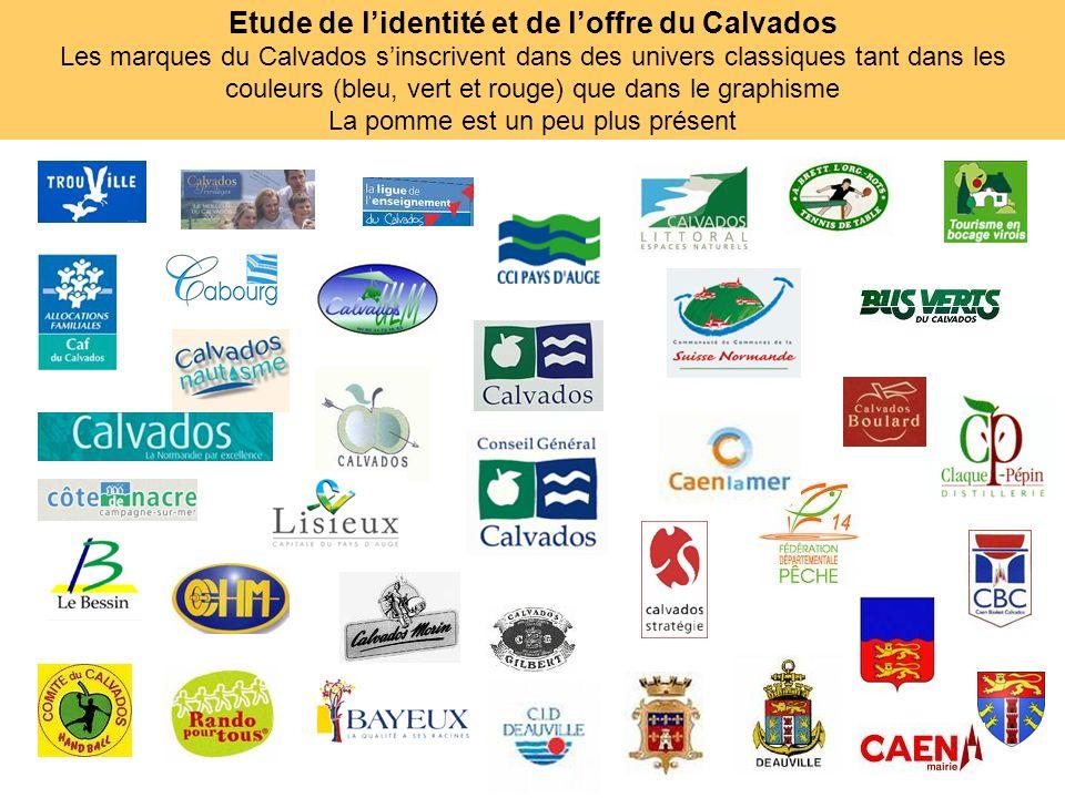 Etude de l'identité et de l'offre du Calvados Les marques du Calvados s'inscrivent dans des univers classiques tant dans les couleurs (bleu, vert et rouge) que dans le graphisme La pomme est un peu plus présent