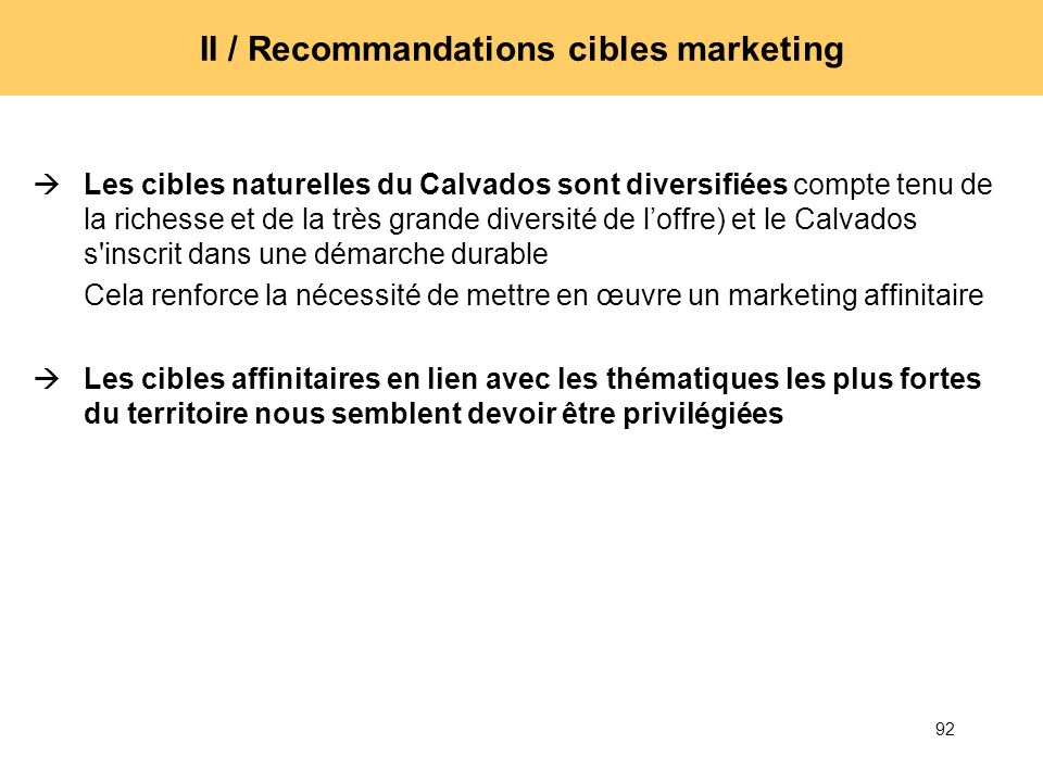 II / Recommandations cibles marketing
