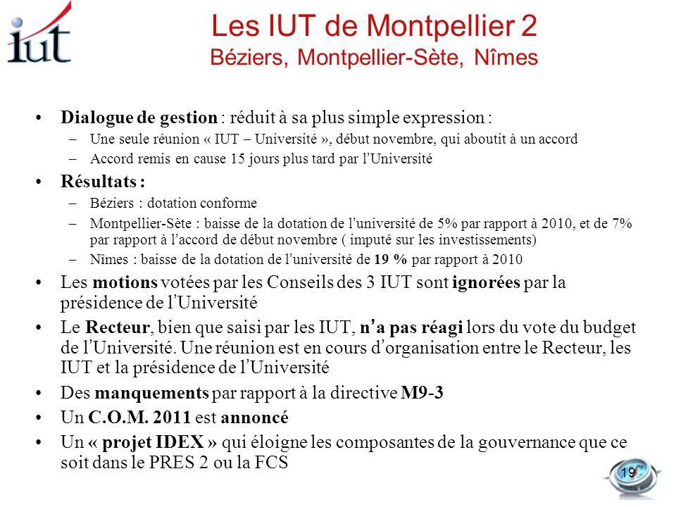 Les IUT de Montpellier 2 Béziers, Montpellier-Sète, Nîmes