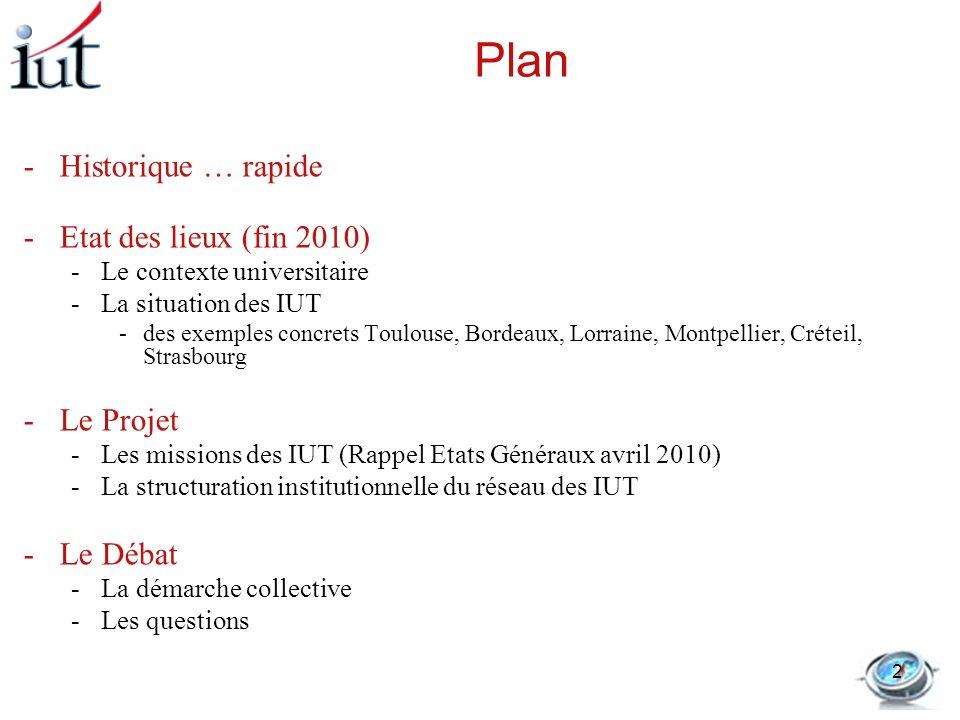 Plan Historique … rapide Etat des lieux (fin 2010) Le Projet Le Débat