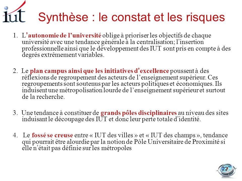 Synthèse : le constat et les risques