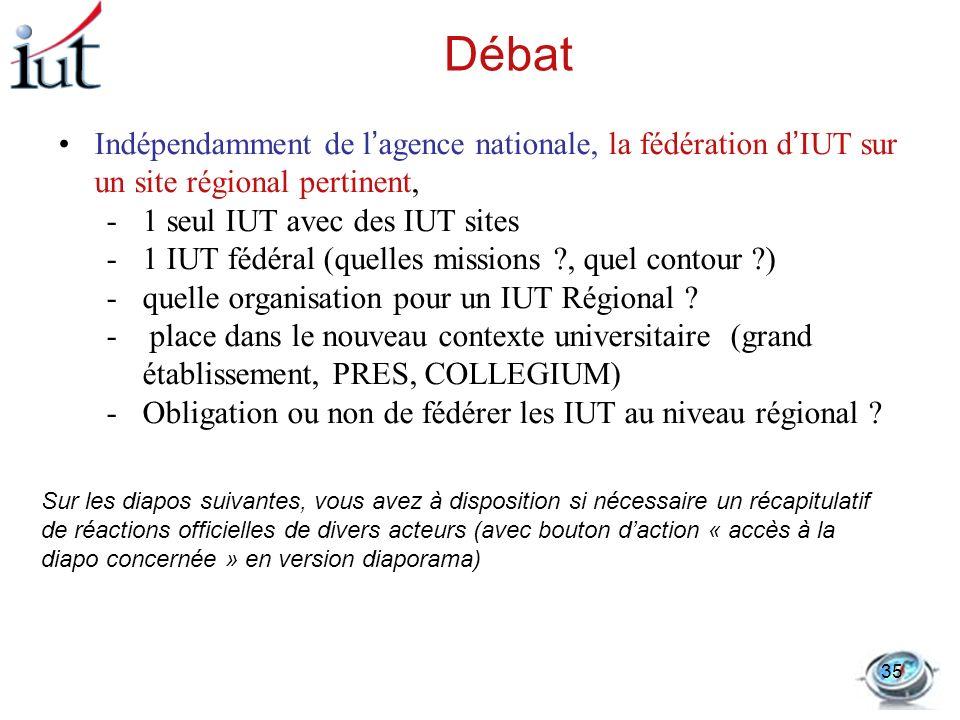 DébatIndépendamment de l'agence nationale, la fédération d'IUT sur un site régional pertinent, 1 seul IUT avec des IUT sites.