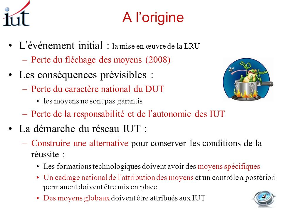 A l'origine L'événement initial : la mise en œuvre de la LRU