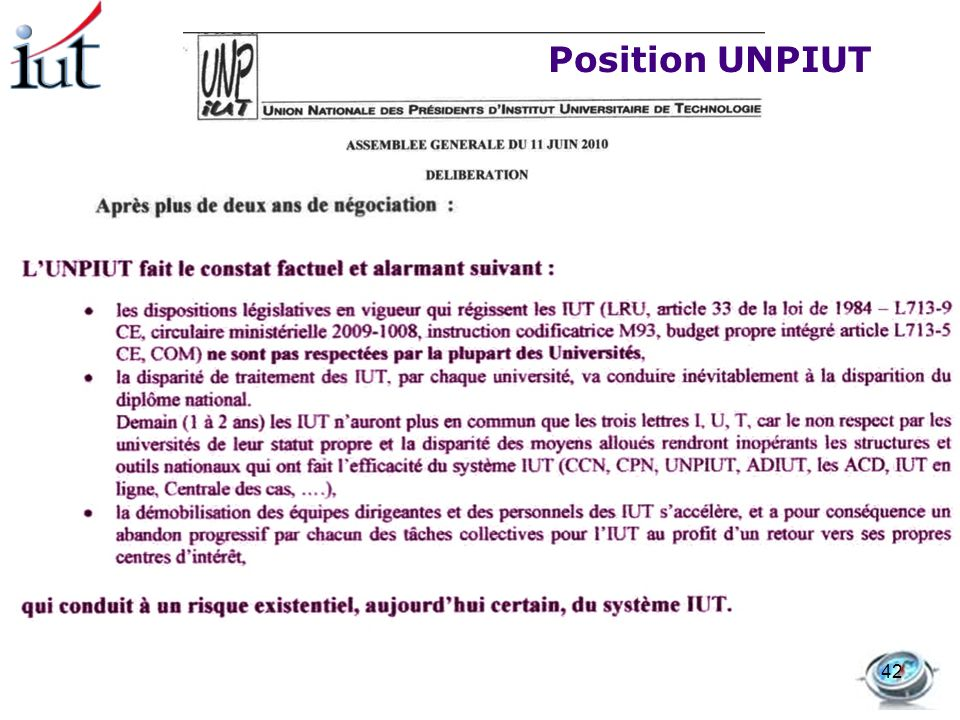 Position UNPIUT