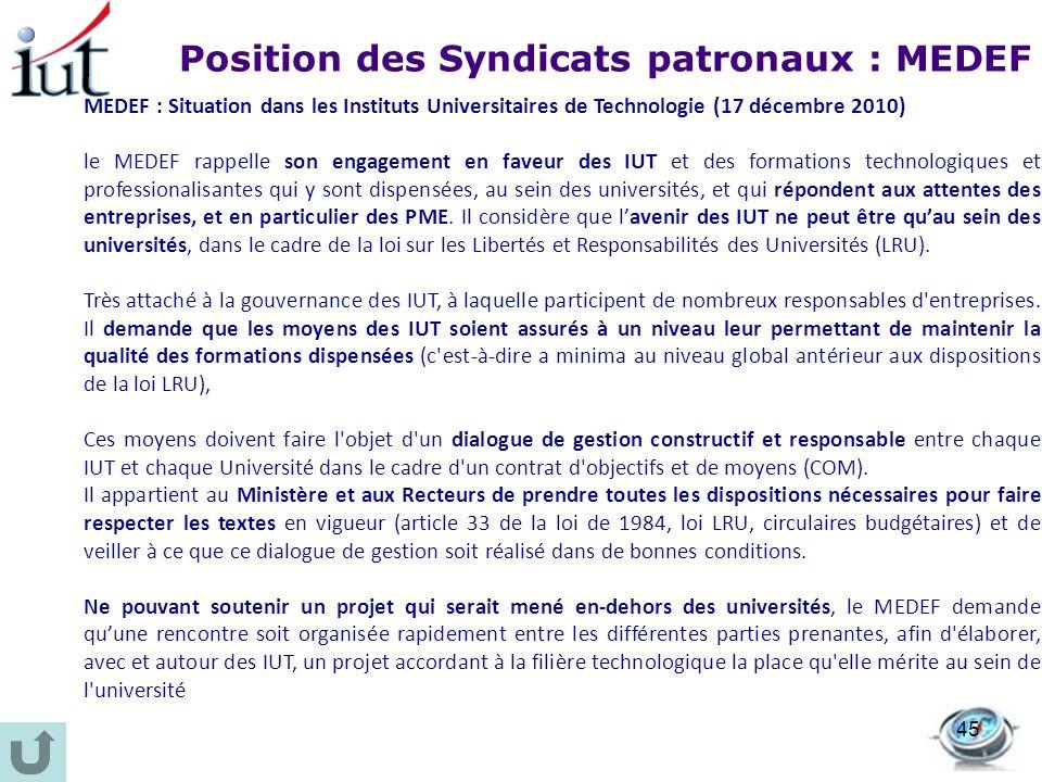 Position des Syndicats patronaux : MEDEF