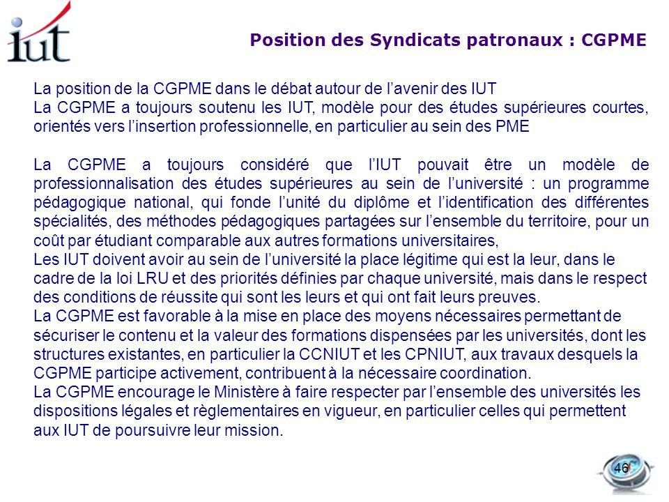 Position des Syndicats patronaux : CGPME