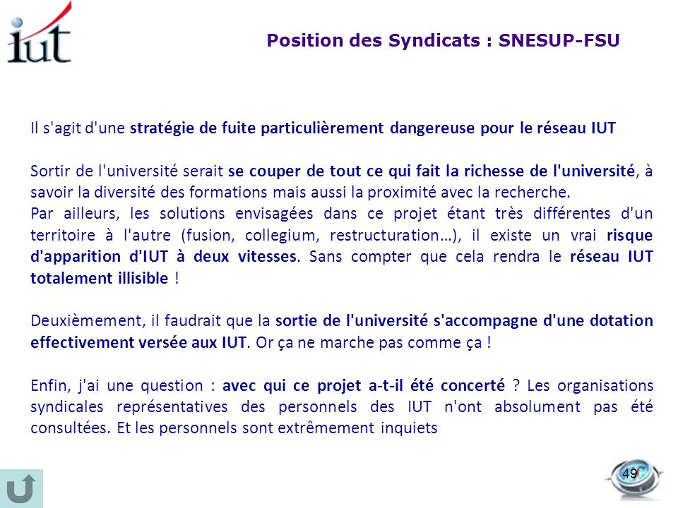 Position des Syndicats : SNESUP-FSU