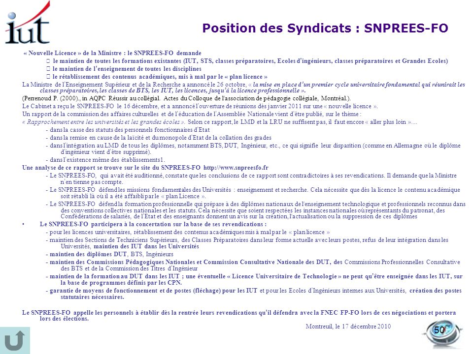 Position des Syndicats : SNPREES-FO