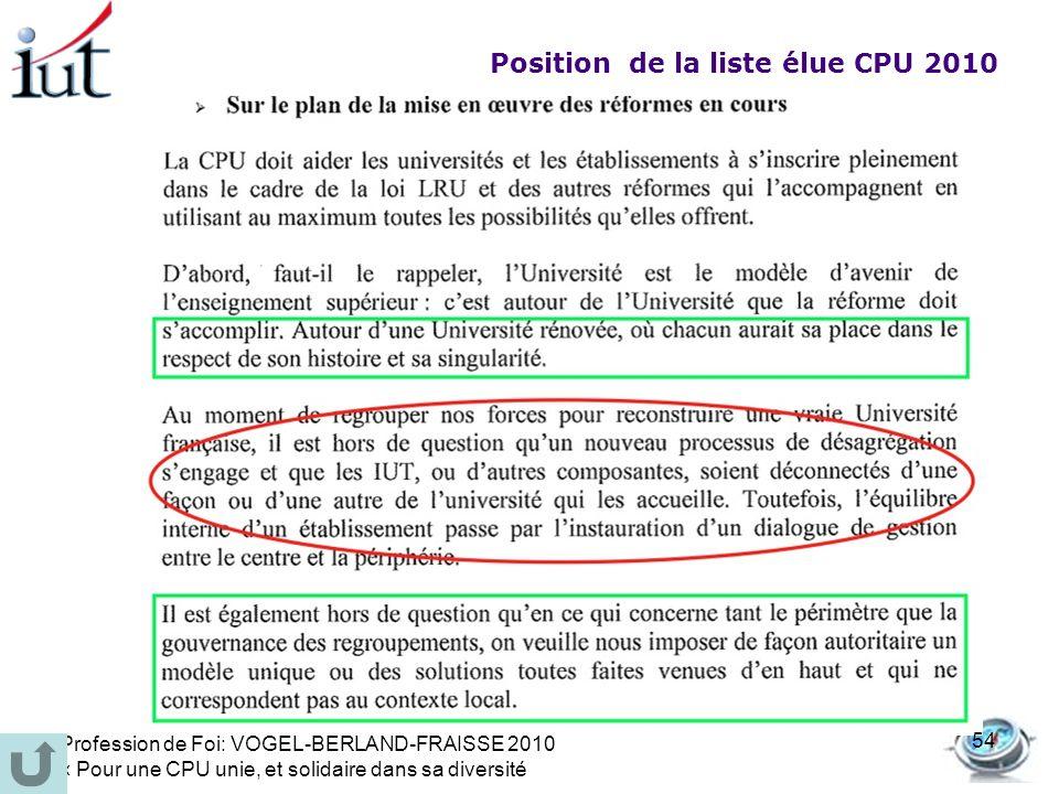 Position de la liste élue CPU 2010