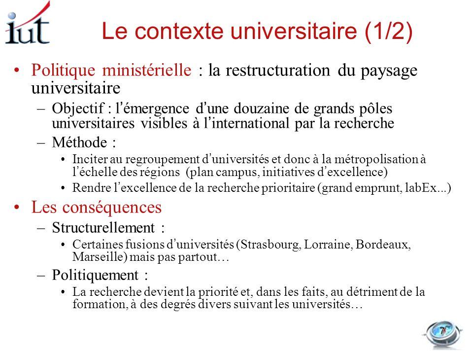Le contexte universitaire (1/2)