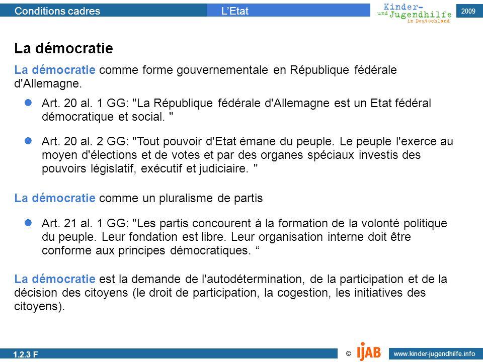 La démocratie La démocratie comme forme gouvernementale en République fédérale d Allemagne.