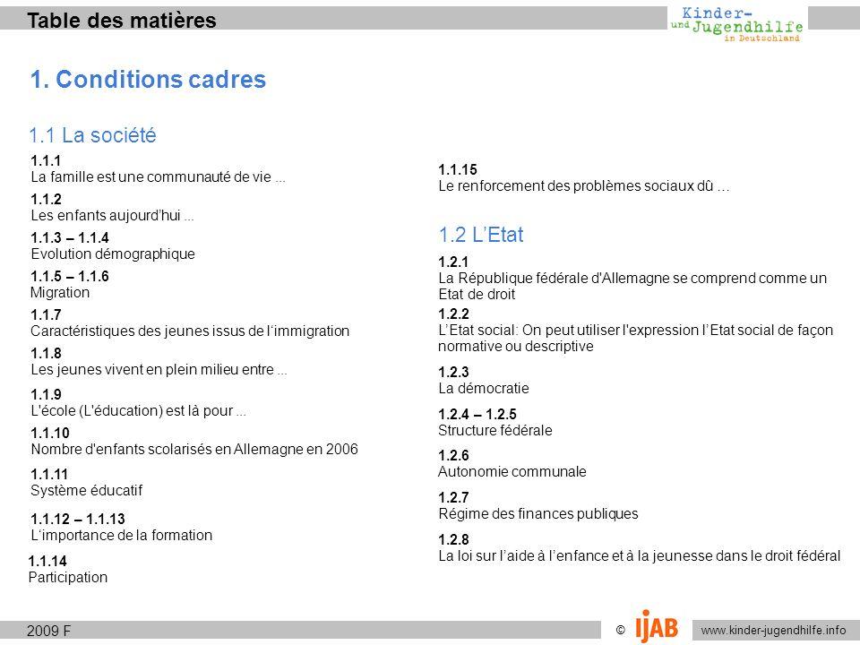 1. Conditions cadres Table des matières 1.1 La société 1.2 L'Etat