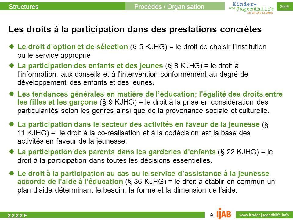 Les droits à la participation dans des prestations concrètes